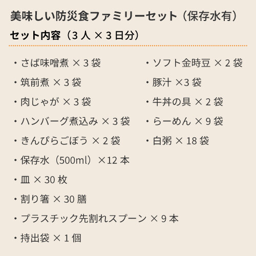 美味しい防災食ファミリーセット(飲料水あり)3人×3日分【賞味期限残4年以上】