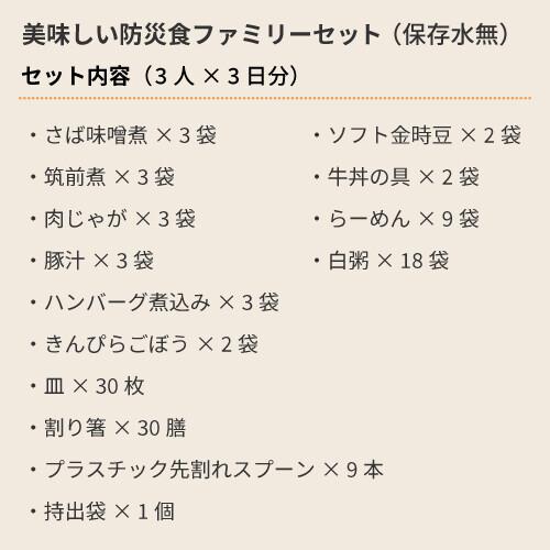 美味しい防災食ファミリーセット(飲料水なし)3人×3日分【賞味期限残4年以上】